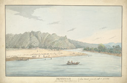 f.18   'Hurdwar from Channey Gaut, April 1794.  See Asiatic Journal.  Vol ii, p. 255.'  River scene.